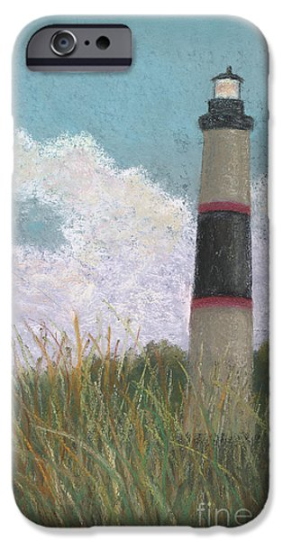Lighthouse Pastels iPhone Cases - The Lighthouse and the Kite iPhone Case by Ginny Neece