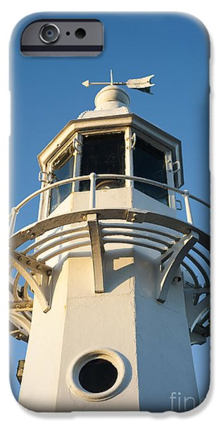 Head Harbour Lighthouse iPhone Cases - The Lighthouse at Mevagissy iPhone Case by Anne Gilbert