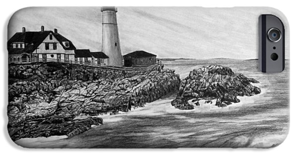 Maine Drawings iPhone Cases - The Lighthouse iPhone Case by Bobby Shaw