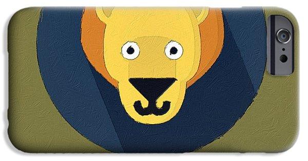 Lion Digital Art iPhone Cases - The Lion Cute Portrait iPhone Case by Florian Rodarte