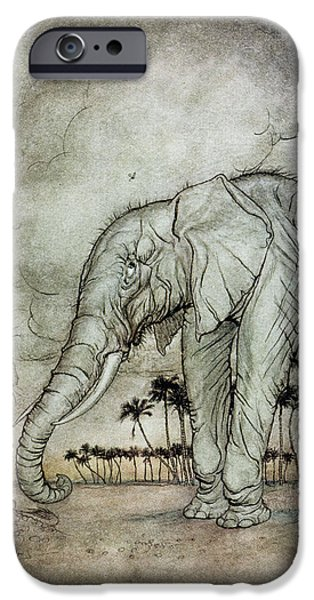 Fable iPhone Cases - The Lion, Jupiter And The Elephant, Illustration From Aesops Fables, Published By Heinemann, 1912 iPhone Case by Arthur Rackham