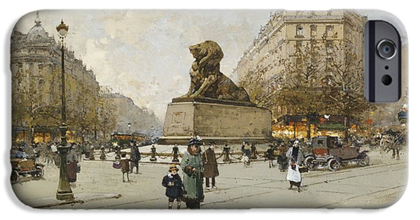 Young Paintings iPhone Cases - The Lion of Belfort Le Lion de Belfort iPhone Case by Eugene Galien-Laloue
