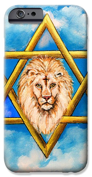 Cathedral Rock Mixed Media iPhone Cases - The Lion of Judah #5 iPhone Case by  Bob and Nadine Johnston