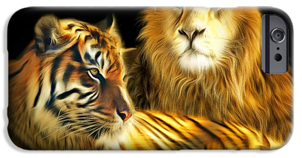The Tiger iPhone Cases - The Lions Den 201502113-2brun square iPhone Case by Wingsdomain Art and Photography