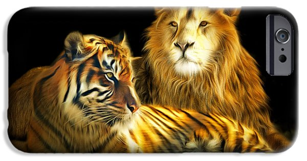 Eye Of The Tiger iPhone Cases - The Lions Den 201502113-2brun iPhone Case by Wingsdomain Art and Photography