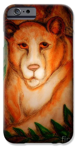 Fauna Pastels iPhone Cases - The Lions Den iPhone Case by Maria Urso