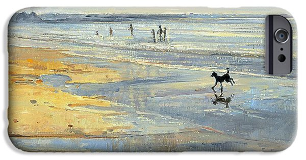 Dog Running. iPhone Cases - The Little Acrobat Oil On Canvas iPhone Case by Timothy Easton