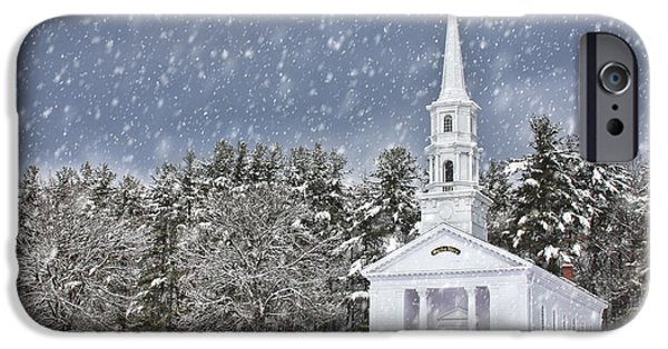 Sudbury Ma iPhone Cases - The Little Chapel in Winter iPhone Case by Jayne Carney