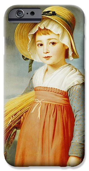 Girl iPhone Cases - The Little Gleaner iPhone Case by Christophe Thomas Degeorge