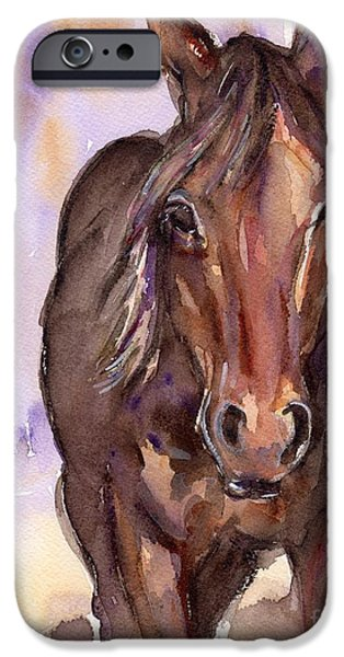 The Horse iPhone Cases - Horse watercolor painting The Little Horse iPhone Case by Maria