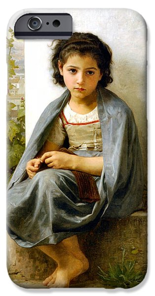 Vintage Images iPhone Cases - The Little Knitter iPhone Case by William Bouguereau