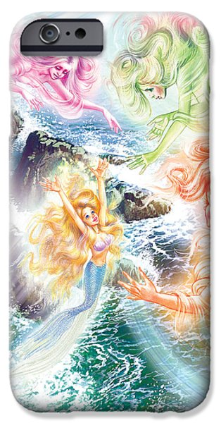 Little iPhone Cases - The Little Mermaid And Wind Daughters iPhone Case by Zorina Baldescu