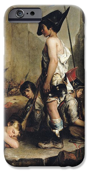 Patriots iPhone Cases - The Little Patriots, 1830 Oil On Canvas iPhone Case by Philippe Auguste Jeanron