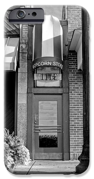 Little iPhone Cases - The Little Popcorn Shop in Wheaton Black and White iPhone Case by Christopher Arndt