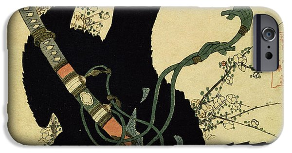 Crow iPhone Cases - The Little Raven with the Minamoto clan sword iPhone Case by Katsushika Hokusai