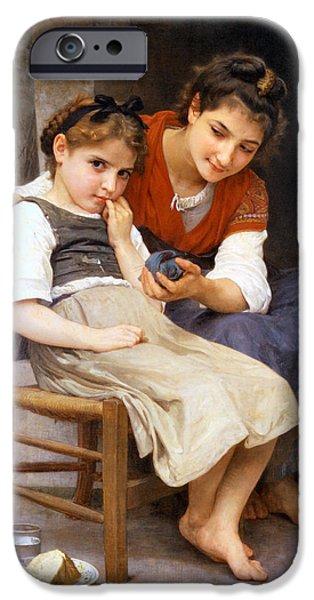 The Little Sulk iPhone Case by William Bouguereau