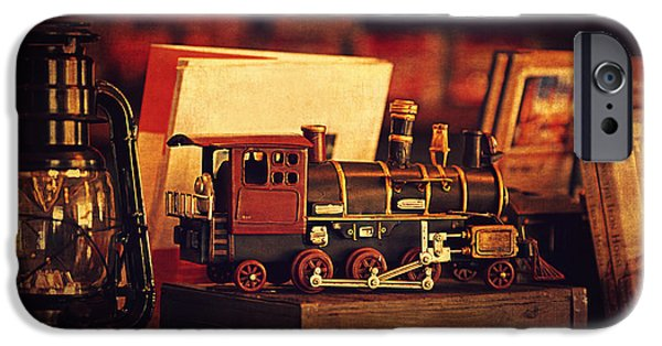 Outmoded iPhone Cases - The Little Train On The Shelf iPhone Case by Maria Angelica Maira