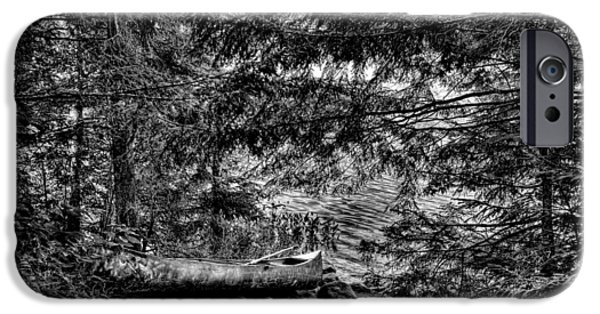 Canoe iPhone Cases - The Lone Canoe on Bubb Lake iPhone Case by David Patterson