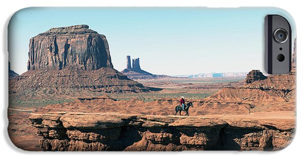 Cathedral Rock iPhone Cases - The Lone Cowboy iPhone Case by Bryan Shane