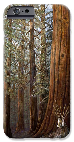 Crows Mixed Media iPhone Cases - The Lone Tee Pee Redwood iPhone Case by Gregory Perillo