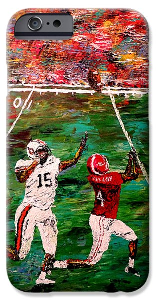 Pallet Knife Paintings iPhone Cases - The Longest Yard - Alabama vs Auburn Football iPhone Case by Mark Moore