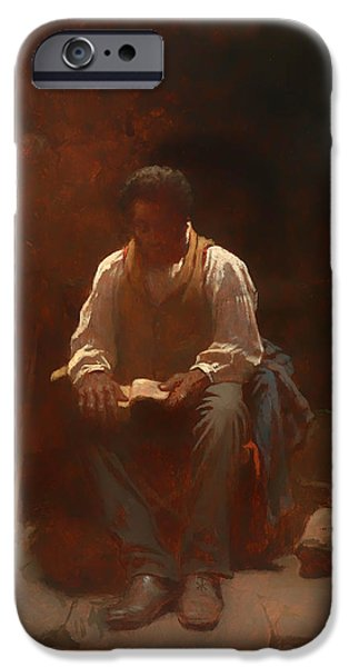 Negro Paintings iPhone Cases - The Lord is My Shepherd iPhone Case by Eastman Johnson