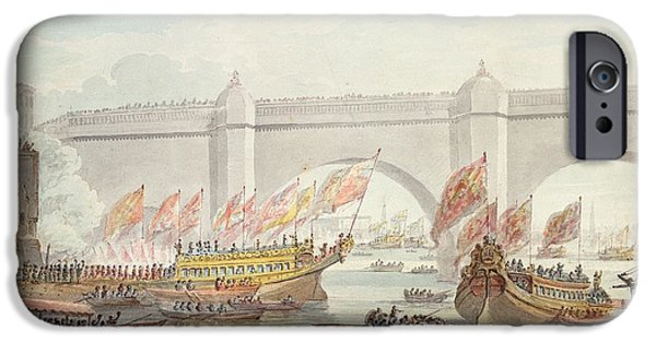 River iPhone Cases - The Lord Mayor Landing At Westminster, With A View Of The Bridge, 1840 Wc On Paper iPhone Case by English School