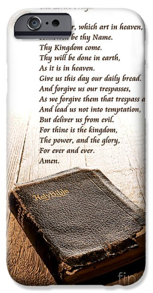 Bible Photographs iPhone Cases - The Lords Prayer and Bible iPhone Case by Olivier Le Queinec