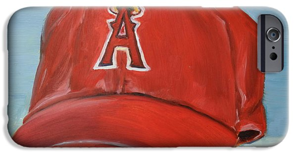 Baseball Art Paintings iPhone Cases - The Los Angeles Angels of Anaheim iPhone Case by Lindsay Frost