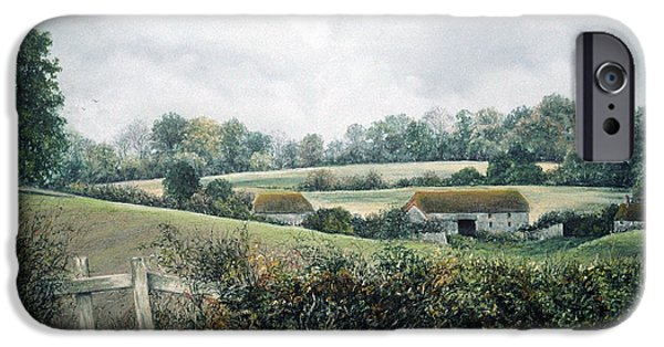 Barn Landscape Pastels iPhone Cases - The Lost Hedgerow iPhone Case by Rosemary Colyer