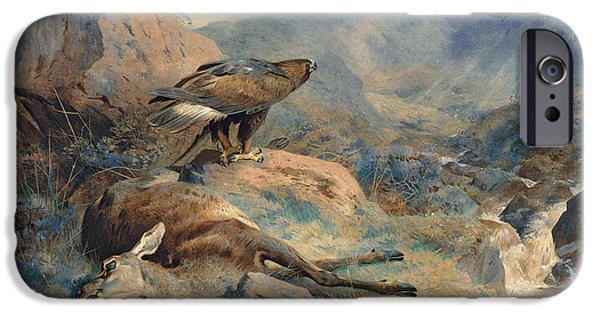 Eagle Paintings iPhone Cases - The Lost Hind iPhone Case by Archibald Thorburn