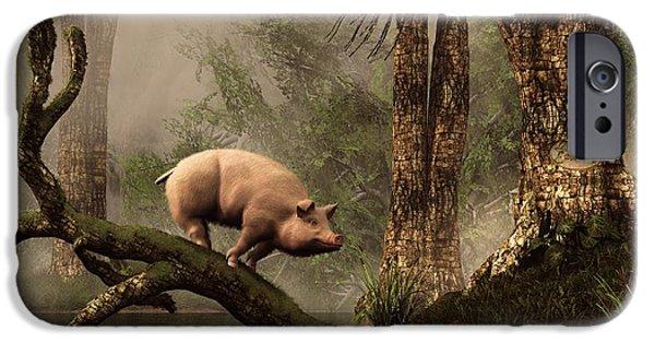 Pig Digital iPhone Cases - The Lost Pig iPhone Case by Daniel Eskridge