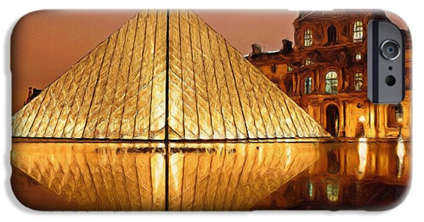 Fineart iPhone Cases - The Louvre by Night iPhone Case by Ayse Deniz