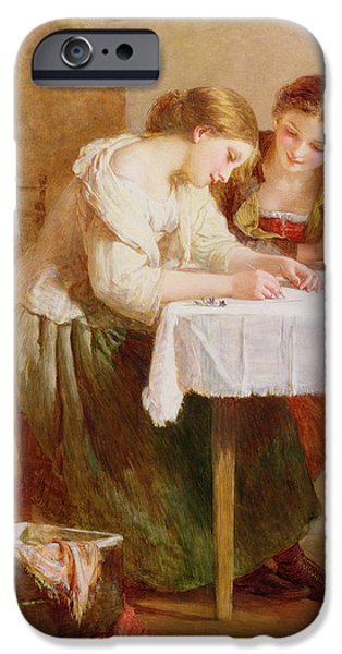 Sisters iPhone Cases - The Love Letter, 1871 iPhone Case by Henry Le Jeune