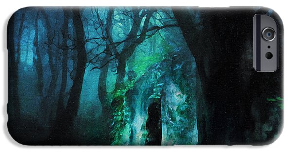 The Trees Mixed Media iPhone Cases - The Lovers Cottage By Night iPhone Case by Georgiana Romanovna