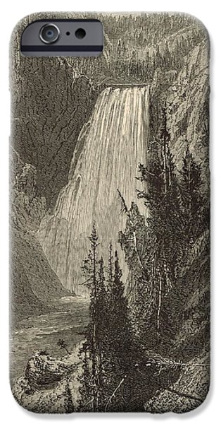 Grand Canyon Drawings iPhone Cases - The Lower Falls of the Yellowstone River iPhone Case by Antique Engravings
