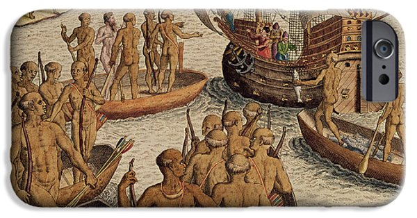 Canoe iPhone Cases - The Lusitanians Send A Second Boat Towards Me, From Americae Tertia Pars..., 1592 Coloured Engraving iPhone Case by Theodore de Bry