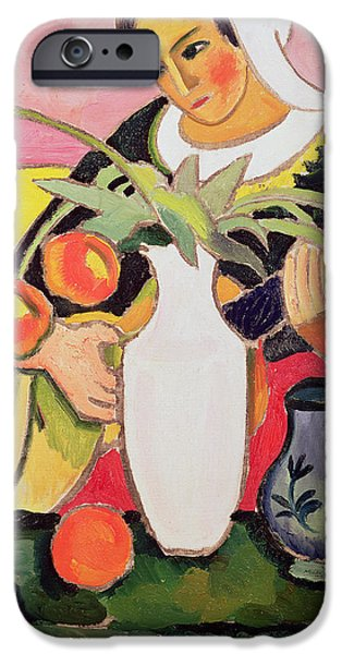 Lute Paintings iPhone Cases - The Lute Player iPhone Case by August Macke