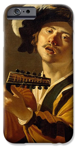 Lute Paintings iPhone Cases - The Lute Player iPhone Case by Dirck van Baburen