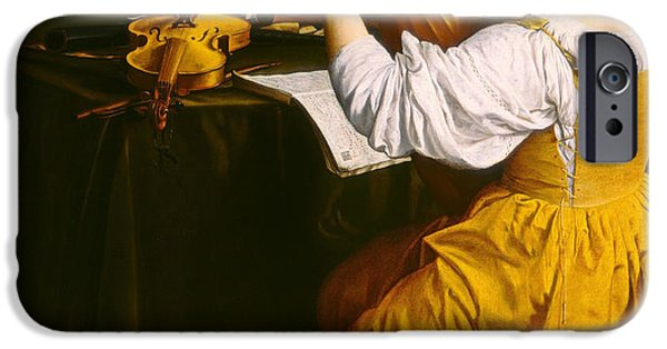 Lute Paintings iPhone Cases - The Lute Player iPhone Case by Orazio Gentileschi