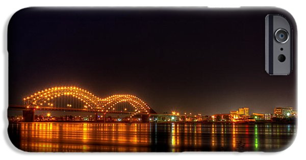 Arkansas iPhone Cases - The M Bridge over the Mississippi River at Memphis TN iPhone Case by Reid Callaway