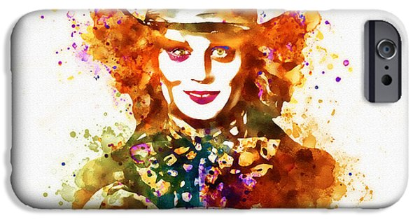 Mad Hatter Digital Art iPhone Cases - The Mad Hatter watercolor iPhone Case by Marian Voicu