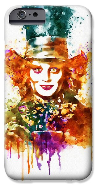 Mad Hatter iPhone Cases - The Mad Hatter watercolor iPhone Case by Marian Voicu