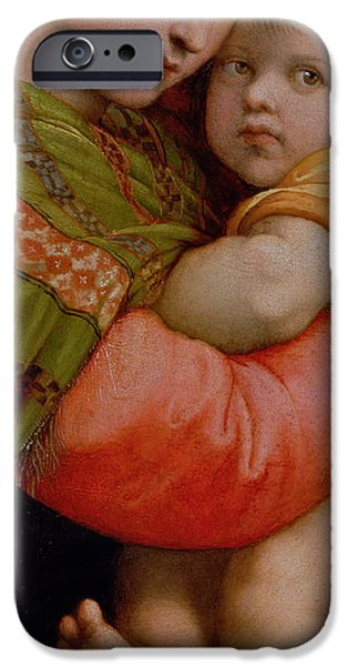 Raphael iPhone Cases - The Madonna of the Chair iPhone Case by Raphael