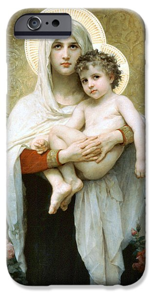 Madonna Digital Art iPhone Cases - The Madonna of the Roses iPhone Case by William Bouguereau