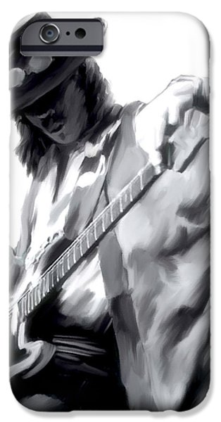 Works Drawings iPhone Cases - The Maestro   Stevie Ray Vaughan iPhone Case by Iconic Images Art Gallery David Pucciarelli