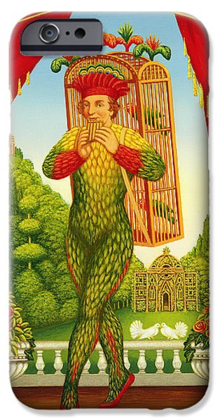 Birdcage iPhone Cases - The Magic Flute, 1998 Oil & Tempera On Panel iPhone Case by Frances Broomfield