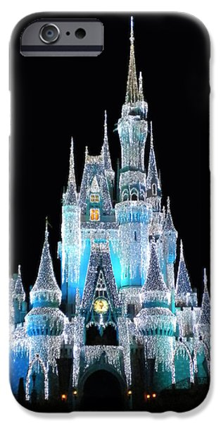Magic Kingdom iPhone Cases - The Magic Kingdom Castle in Frosty Light Blue Walt Disney World iPhone Case by Thomas Woolworth