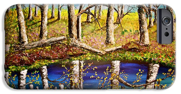 Prescott Paintings iPhone Cases - The Magic Pond iPhone Case by Mark Prescott Crannell