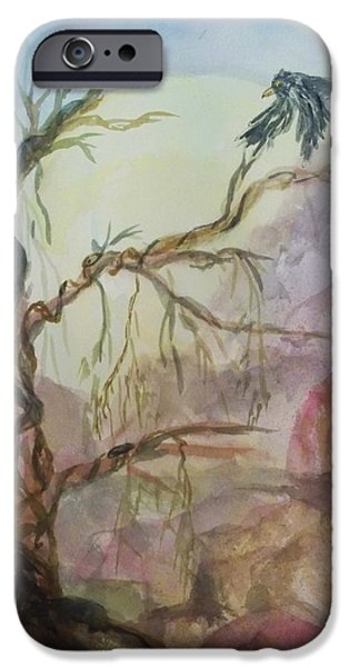 Mystical Landscape Mixed Media iPhone Cases - The Magic Tree iPhone Case by Ellen Levinson